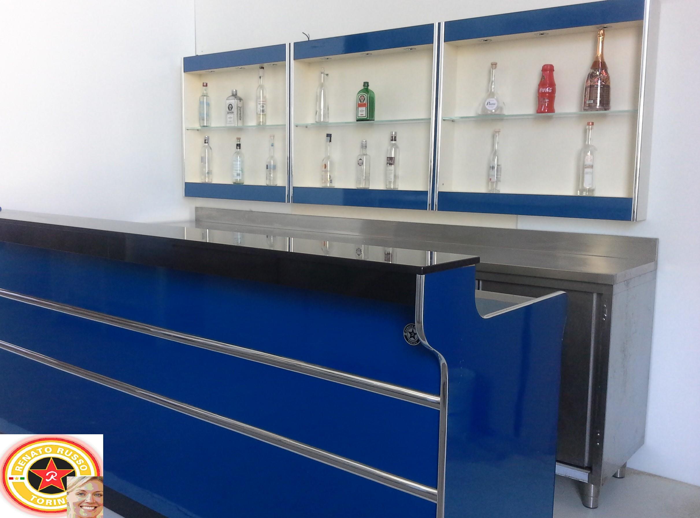 Bancone Bar Per Casa banco bar mare blù cm.300 completo di pedana e retroabanco
