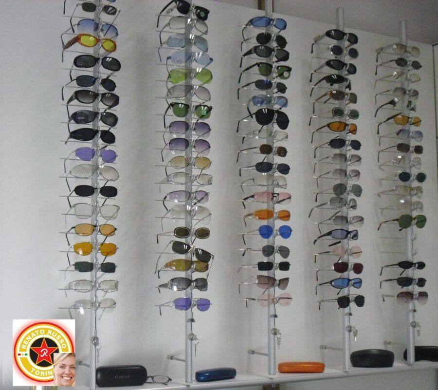 pannello per occhiali con 4 aste portaocchiali con chiave