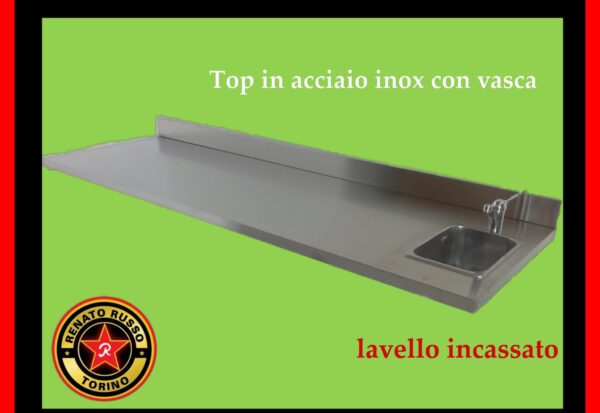 top con lavello incassato